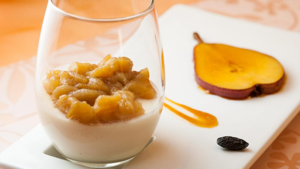 Panna Cotta with Tonka Bean and Pear Compote