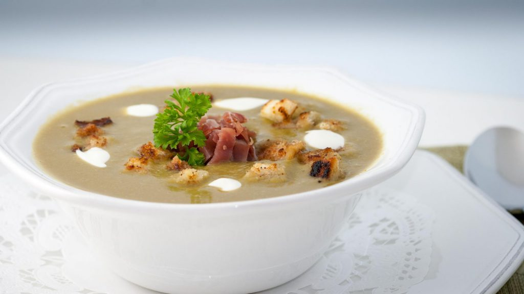 Potage St. Germain with Julienne of Prosciutto and Golden Croutons