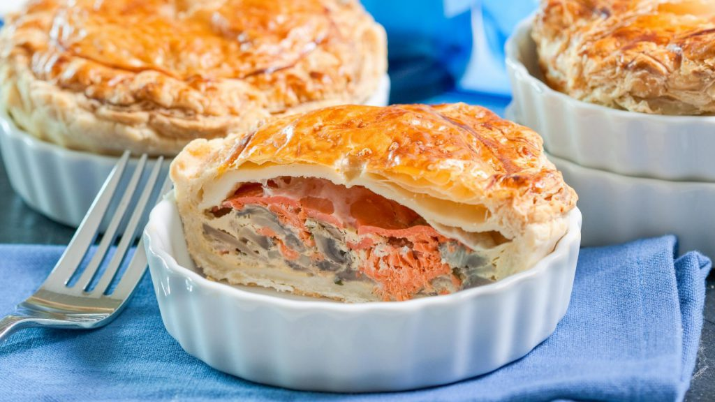 Salmon Duo and Mushroom Pie
