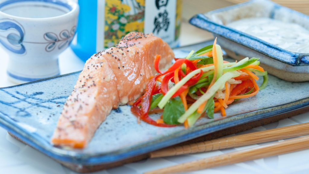 Tea-Smoked Salmon with Seaweed Yoghurt Sauce
