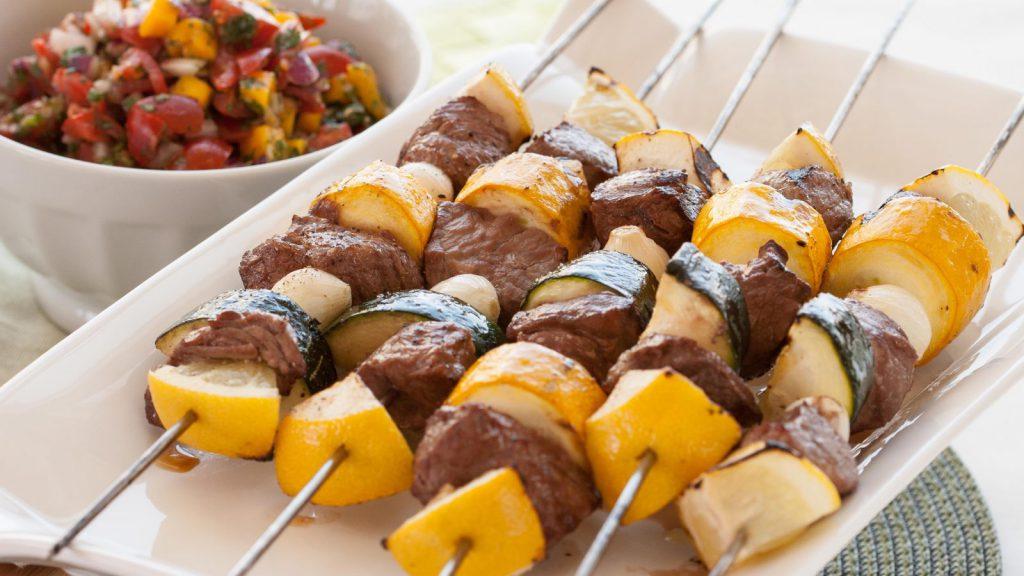 Beef Kebabs with Mango Tomato Salsa