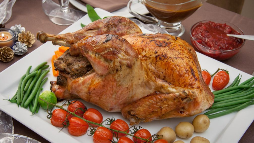 Roasted Stuffed Turkey with Gravy and Cranberry Sauce