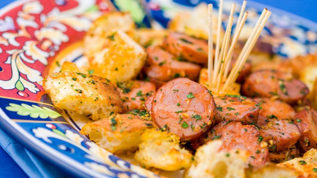 Garlic Pan Fried Bread and Chorizo