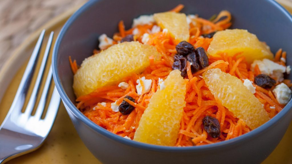 Carrot Salad with Orange and Feta Cheese