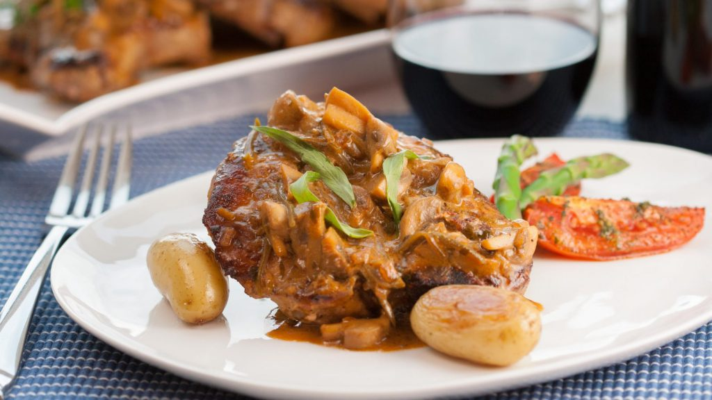 Pork Chops with Charcutiere Sauce