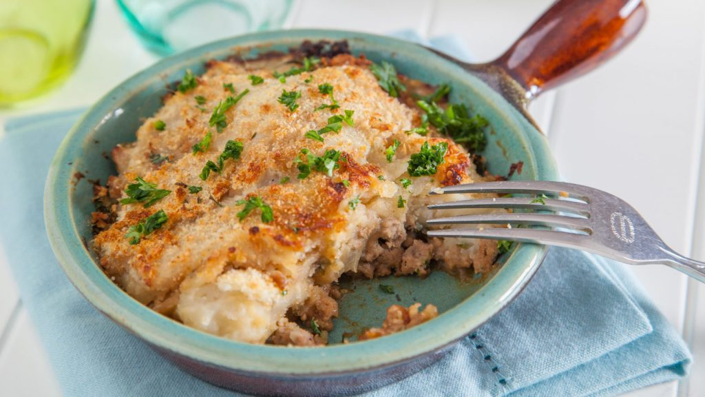 Turkey Parmentier with Pear and Blue Cheese