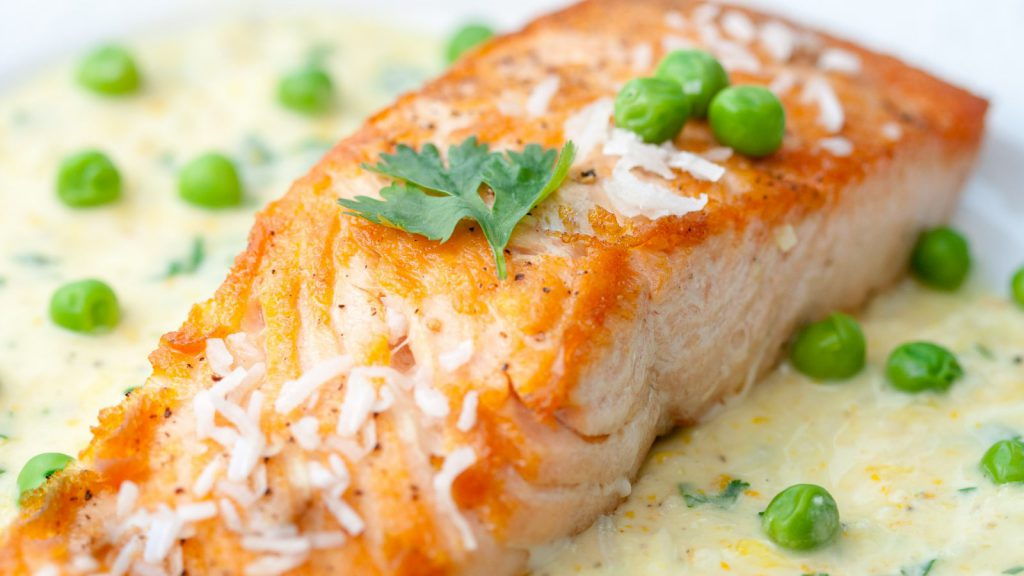 Salmon Steak in Coconut Milk with Peas